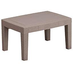 Flash Furniture Recangle All-Weather Faux Rattan Coffee Table in Charcoal