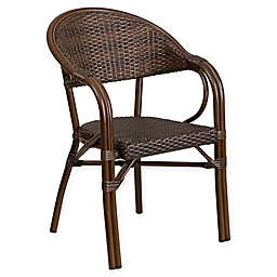 Flash Furniture Rattan Patio Chair in Cocoa with Bamboo-Aluminum Frame