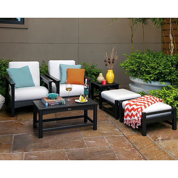 Alternate image 1 for POLYWOOD® Club 6-Piece Conversation Set with Bird's Eye Cushions in Black/White