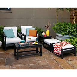 POLYWOOD® Club 6-Piece Conversation Set with Bird's Eye Cushions in Black/White