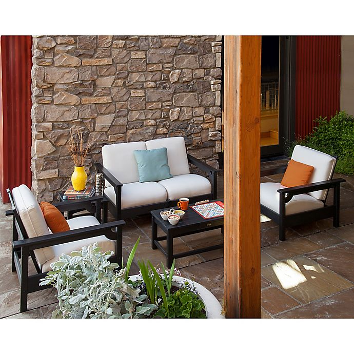 Alternate image 1 for POLYWOOD® Club 5-Piece Conversation Set with Bird's Eye Cushions in Black/White