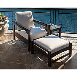 POLYWOOD® Club 3-Piece Conversation Set with Bird's Eye Cushions in Black/White