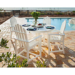 POLYWOOD® Classic Adirondack 5-Piece Outdoor Dining Set in White