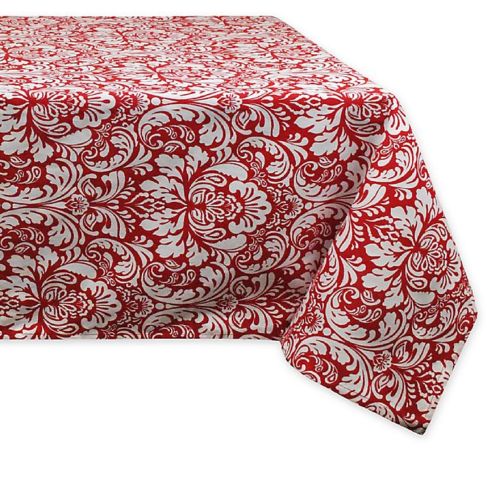 Alternate image 1 for Design Imports Damask 60-Inch x 84-Inch Oblong Tablecloth in Red