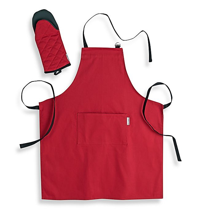 Alternate image 1 for Canadian Living 2-Piece Apron and Shark Mitt Set  in Red