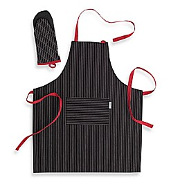 Canadian Living 2-Piece Granite Stripe Basic Apron and Shark Mitt Set in Black/Red