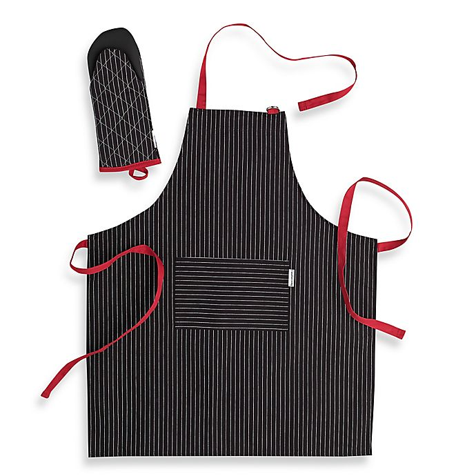 Alternate image 1 for Canadian Living 2-Piece Granite Stripe Basic Apron and Shark Mitt Set in Black/Red