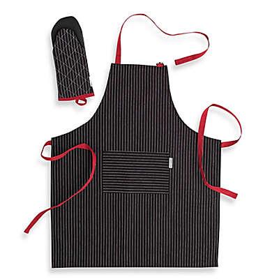 Canadian Living 2-Piece Granite Stripe Basic Apron and Shark Mitt Set in Black/Red