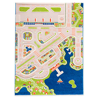 "IVI Mini City 4'4"" x 5'11"" 3-Dimensional Play Rug in Blue"