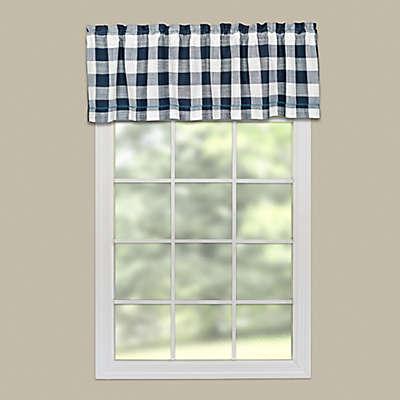 Heritage Lace® Buffalo Check Rod Pocket Window Valance in Navy