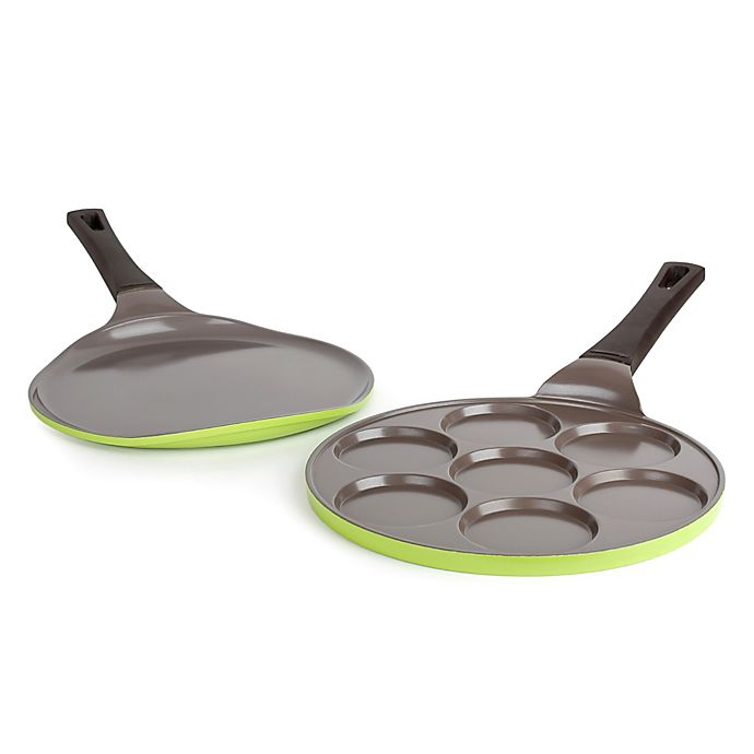 Alternate image 1 for Neoflam® Pancake and Crepe Ceramic Nonstick Pans in Green (Set of 2)