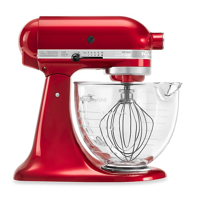 Alternate image 1 for KitchenAid® 5 qt. Artisan® Design Series Stand Mixer with Glass Bowl in Candy Apple