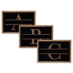 Infinity Monogram Letter Door Mat in Black