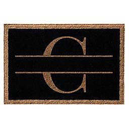 """Infinity Monogram Letter """"C"""" 3' x 5' Door Mat in Black"""