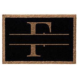 """Infinity Monogram Letter """"F"""" 2' x 3' Door Mat in Black"""