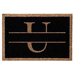 """Infinity Monogram Letter """"U"""" 2' x 3' Door Mat in Black"""