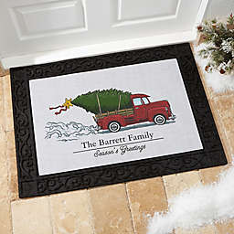Classic Christmas 2-Line Multicolor Door Mat