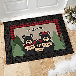 Holiday Bear Family Multicolor Door Mat