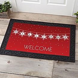Festive Snowflakes Multicolor Door Mat