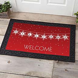 Festive Snowflakes Multicolor Door Mat