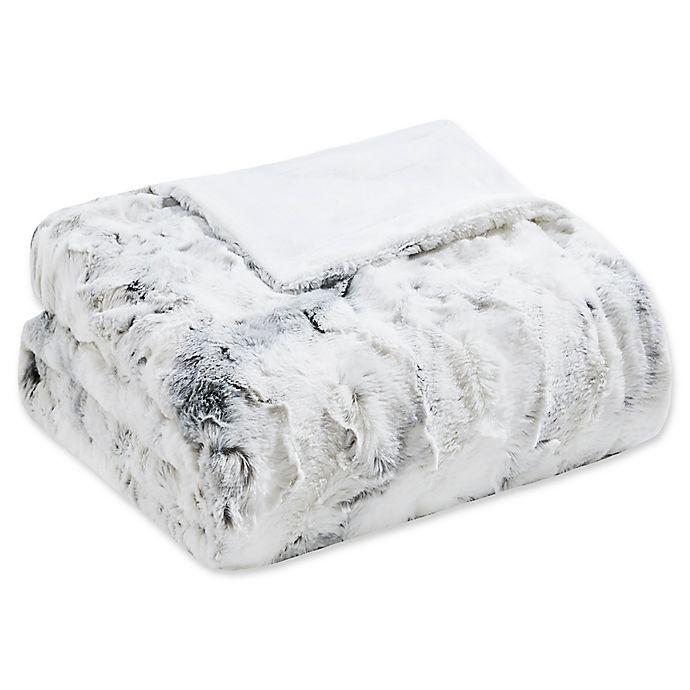 Alternate image 1 for Madison Park Sachi Oversized Faux Fur Throw Blanket in Grey