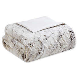 Madison Park Sachi Oversized Faux Fur Throw Blanket in Natural