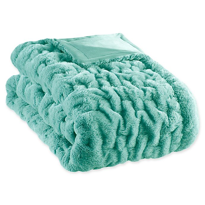 Alternate image 1 for Madison Park Ruched Faux Fur Throw Blanket in Aqua