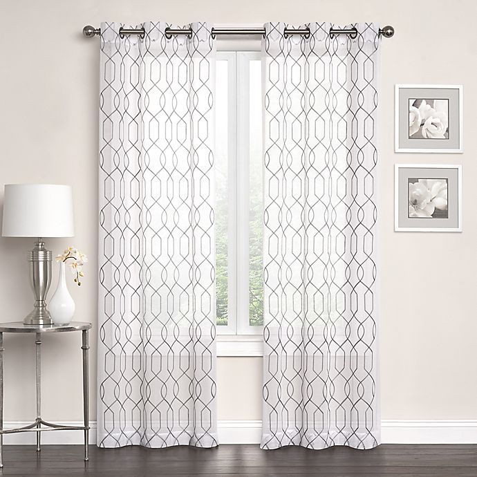 Alternate image 1 for Newbury Embroidered Sheer Grommet Top Window Curtain Panel Pair