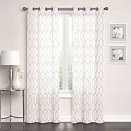 Newbury Embroidered Sheer Grommet Top Window Curtain Panel Pair