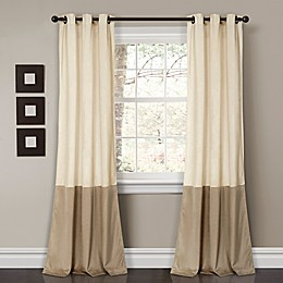 Prima Velvet Color Block Room Darkening Window Curtain Panel Pair