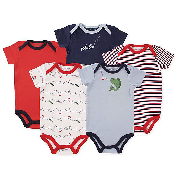 Alternate image 1 for Luvable Friends 5-Pack Fishing Short Sleeve Bodysuit