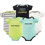 Luvable Friends Size 6-9M 5-Pack Sports Short Sleeve Bodysuit