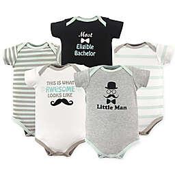 Luvable Friends® 5-Pack Little Man Hanging Bodysuits in Grey/Black