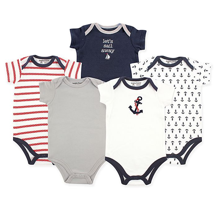 83743981f Luvable Friends® 5-Pack Nautical Hanging Bodysuits in Navy Red ...
