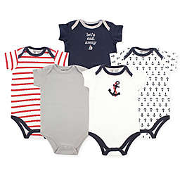 Luvable Friends® 5-Pack Nautical Hanging Bodysuits in Navy/Red