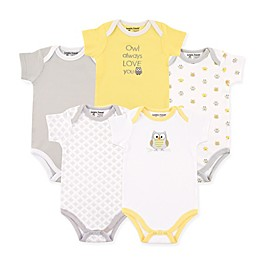 Luvable Friends® 5-Pack Owl Hanging Bodysuits in Yellow