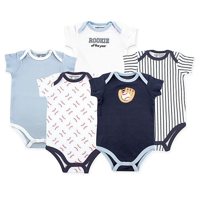 Alternate image 1 for Luvable Friends Size 3-6M 5-Pack Baseball Short Sleeve Bodysuit