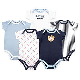 Luvable Friends 5-Pack Baseball Short Sleeve Bodysuit