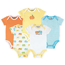 Luvable Friends® 5-Pack Elephant Hanging Bodysuits in Yellow/Orange