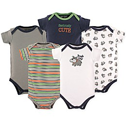 Luvable Friends® 5-Pack Dog Hanging Bodysuits in Navy/Grey