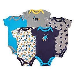 Luvable Friends® 5-Pack Rocket Hanging Bodysuits in Navy/Blue