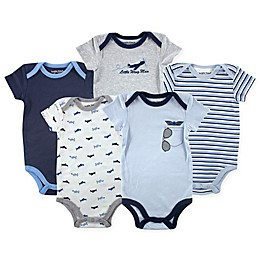 Luvable Friends® 5-Pack Airplane Bodysuits in Blue/Grey