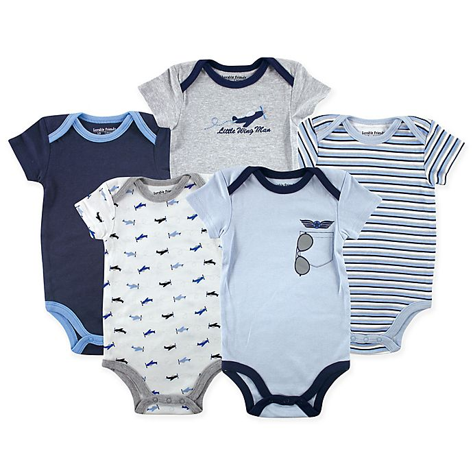 Alternate image 1 for Luvable Friends® 5-Pack Airplane Bodysuits in Blue/Grey