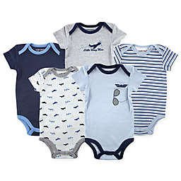 Luvable Friends® Size 9-12M 5-Pack Airplane Bodysuits in Blue/Grey