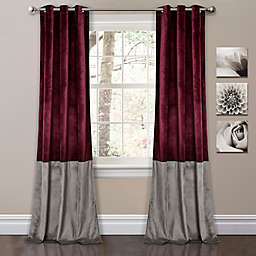 Prima Velvet Color Block Room Darkening Window Curtain Panels  in Plum (Set of 2)