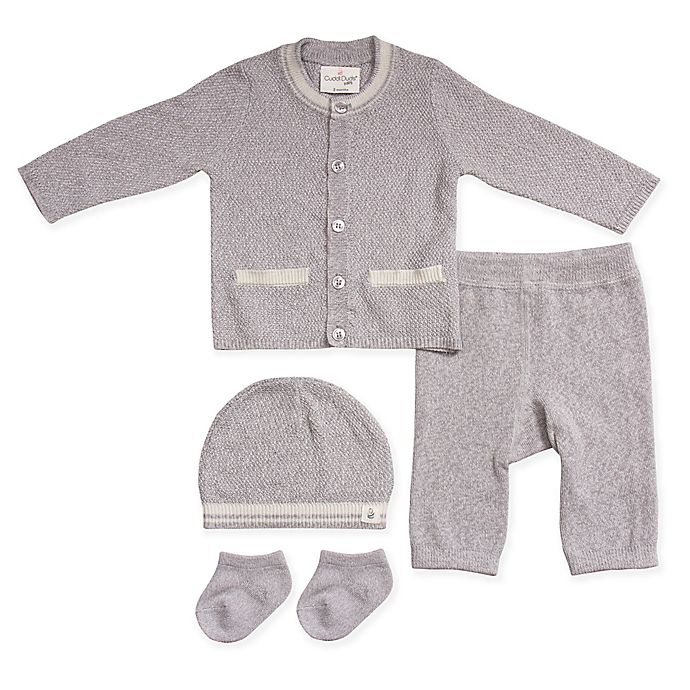 Alternate image 1 for Cuddl Duds® 5-Piece Take Me Home Cardigan, Pant, Hat, and Sock Set in Grey