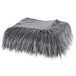 Madison Park Edina Long Faux Fur Throw Blanket in Grey