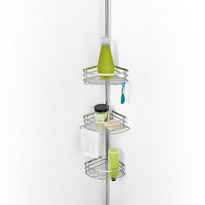 Bed Bath And Beyond Shower Caddy salt steel 3-tier pole shower caddy in sterling | bed bath & beyond
