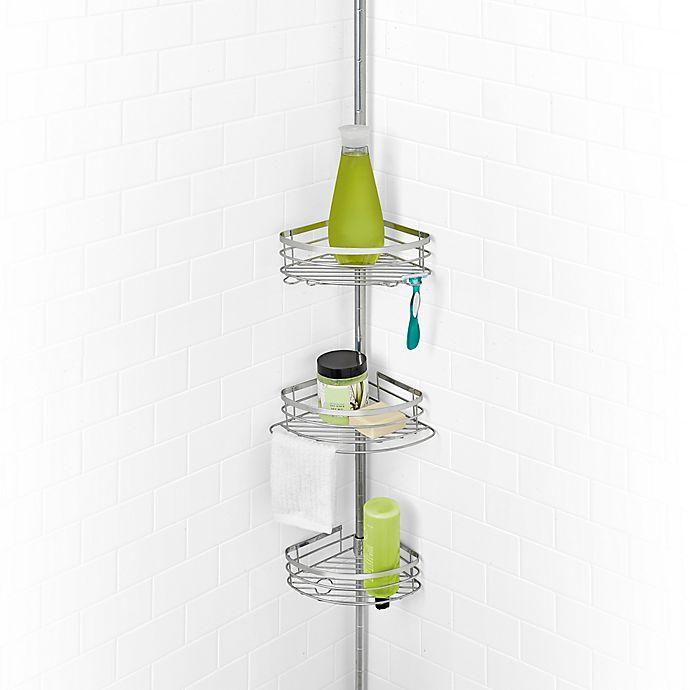 Alternate image 1 for SALT Steel 3-Tier Pole Shower Caddy in Sterling