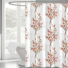 Brielle 72-Inch x 72-Inch Fabric Shower Curtain in White/Orange